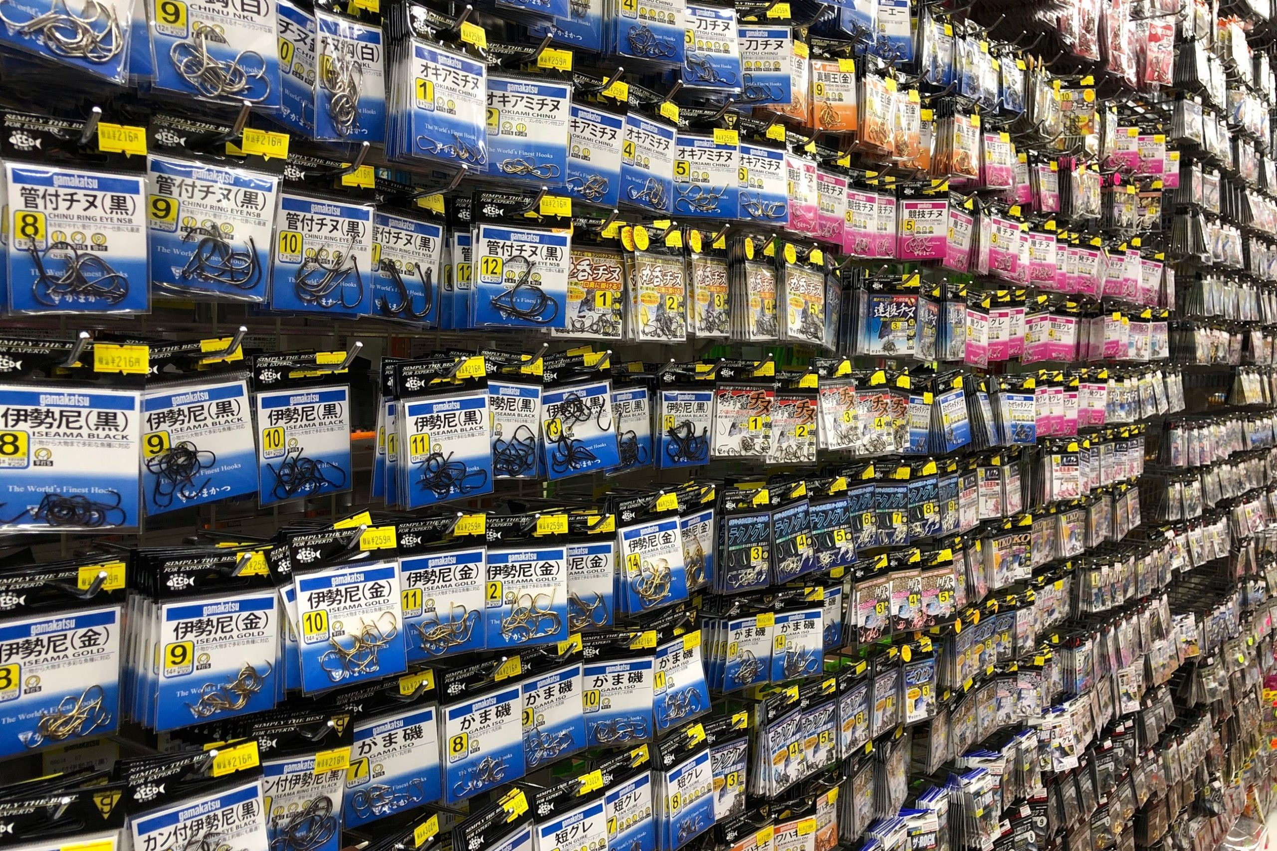 釣具店の釣り針売り場